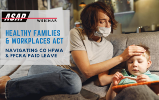 HFWA & FFCRA Webinar; woman on couch checking child's forehead for a fever