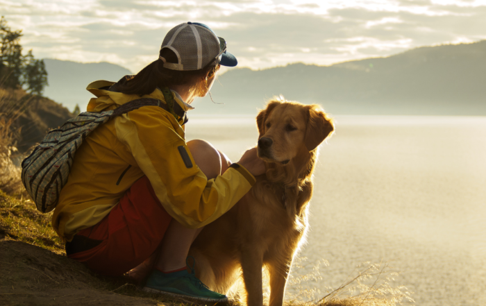 A woman and her dog enjoying the sunrise at a mountain lake